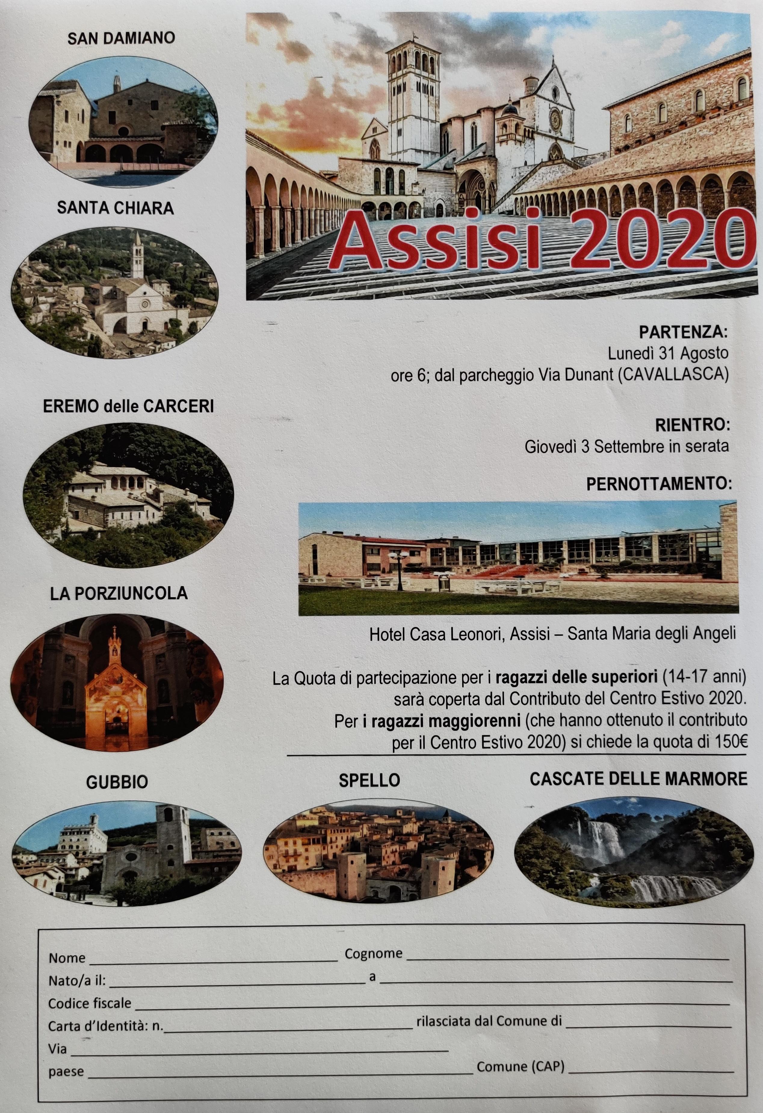 Volantino Assisi 2020
